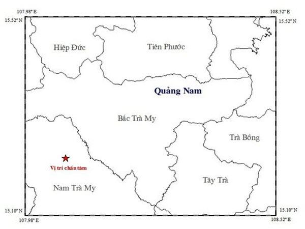 Xảy ra động đất mạnh 2,7 độ Richter ở tỉnh Quảng Nam