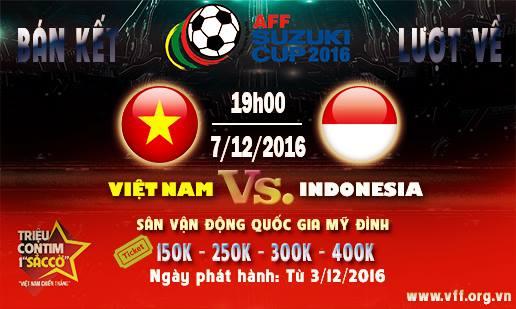 Mua vé trận bán kết AFF Suzuki Cup 2016 Việt Nam- Indonesia ở đâu?
