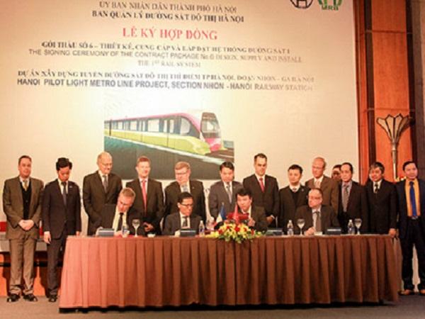 Ký hợp đồng gói thầu hơn 7.600 tỷ cho tuyến đường sắt Nhổn – Ga Hà Nội